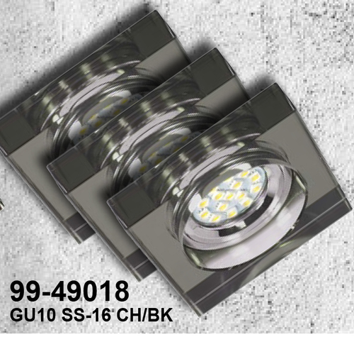Sada tří svítidel Ss-16 Ch / Bk 3X3W GU10 LED s LED žárovkou, chromovaný strop, pevné čtvercové černé sklo