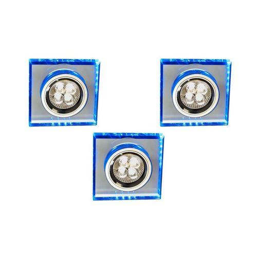 Sada tří svítidel Ss-22 Ch / Tr + Bl Gu10 50W + LED Smd 230V modrá 2,1W Chrome Flux strop. Čtvercové sklo průhledné