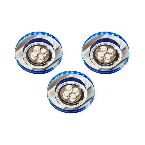 Sada tří svítidel Ss-23 Ch / Tr + Bl Gu10 50W + LED Smd 230V modrá 2,1W chromový strop. Ocelové kulaté průhledné sklo