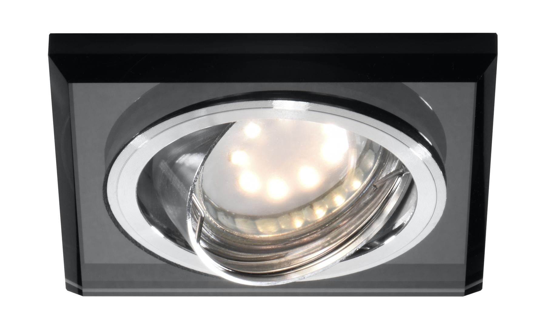 Ssu-13 Ch / Bk Mr16 Chrome Eyelet Stropní lampa Sklopná hranatá stropní lampa Černé sklo