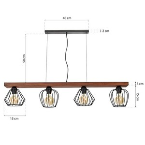 Závěsná lampa Ozzy Black / Wood 4x E27 60 W small 7
