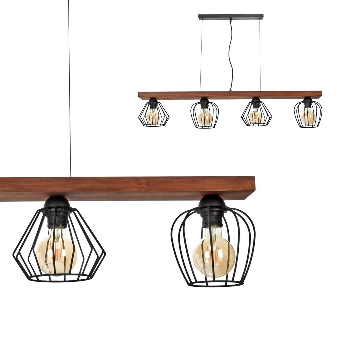 Závěsná lampa Ozzy Black / Wood 4x E27 60 W
