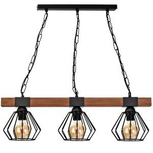 Závěsná lampa Ulf Black / Wood 3x E27 60 W small 1
