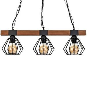 Závěsná lampa Ulf Black / Wood 3x E27 60 W small 2