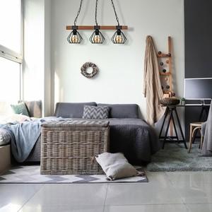 Závěsná lampa Ulf Black / Wood 3x E27 60 W small 5