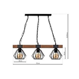 Závěsná lampa Ulf Black / Wood 3x E27 60 W small 6