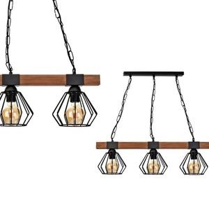 Závěsná lampa Ulf Black / Wood 3x E27 60 W small 0