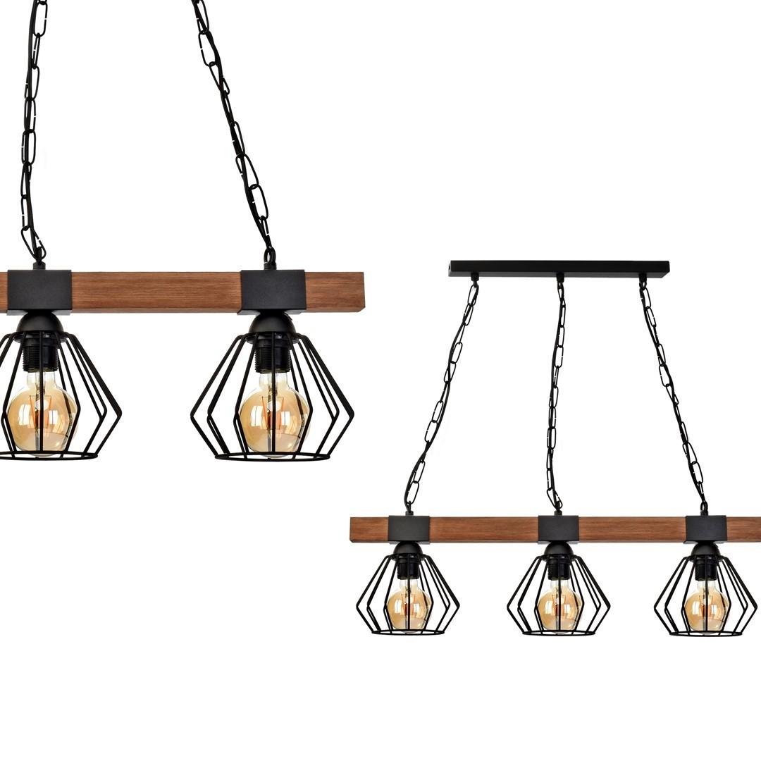 Závěsná lampa Ulf Black / Wood 3x E27 60 W