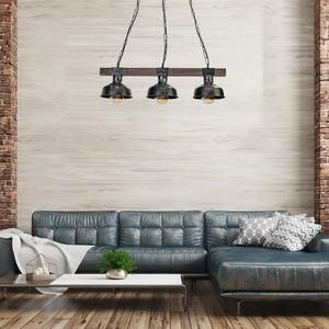 Závěsná lampa Faro Black / Wood 3x E27 60 W small 5
