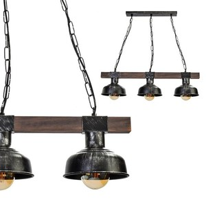 Závěsná lampa Faro Black / Wood 3x E27 60 W small 0