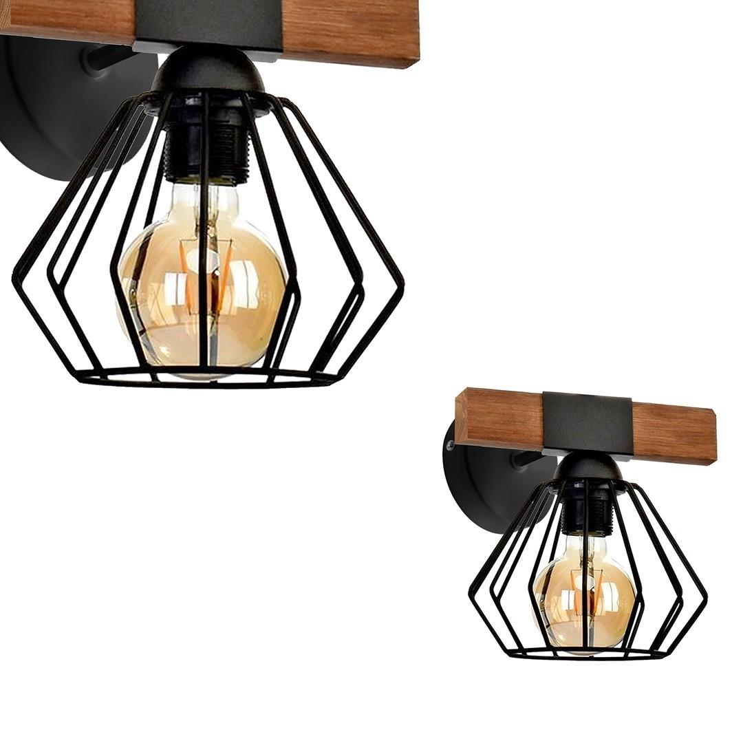 Nástěnná lampa Ulf černá / dřevo 1x E27 60 W