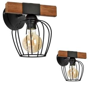 Nástěnné svítidlo Ozzy Black / Wood 1x E27 60 W small 0