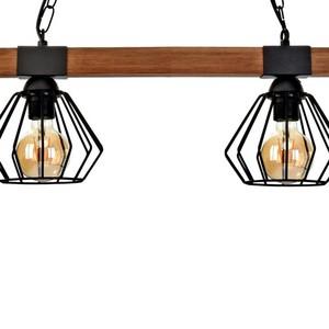 Závěsná lampa Ulf Black / Wood 2x E27 60 W small 2