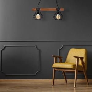 Závěsná lampa Ulf Black / Wood 2x E27 60 W small 4