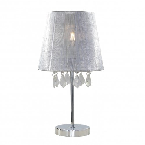 Lampa Mona biurkowa jasna mała Glamour z brylantami