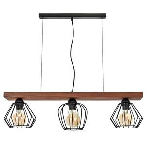 Závěsná lampa Ozzy Black / Wood 3x E27 60 W small 1