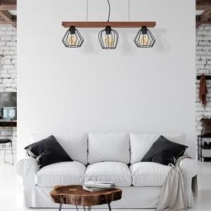 Závěsná lampa Ozzy Black / Wood 3x E27 60 W small 6