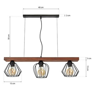 Závěsná lampa Ozzy Black / Wood 3x E27 60 W small 7