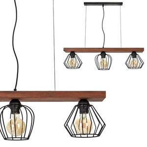 Závěsná lampa Ozzy Black / Wood 3x E27 60 W small 0