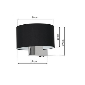 Casino Black / Chrome 1x nástěnná lampa E27 small 6