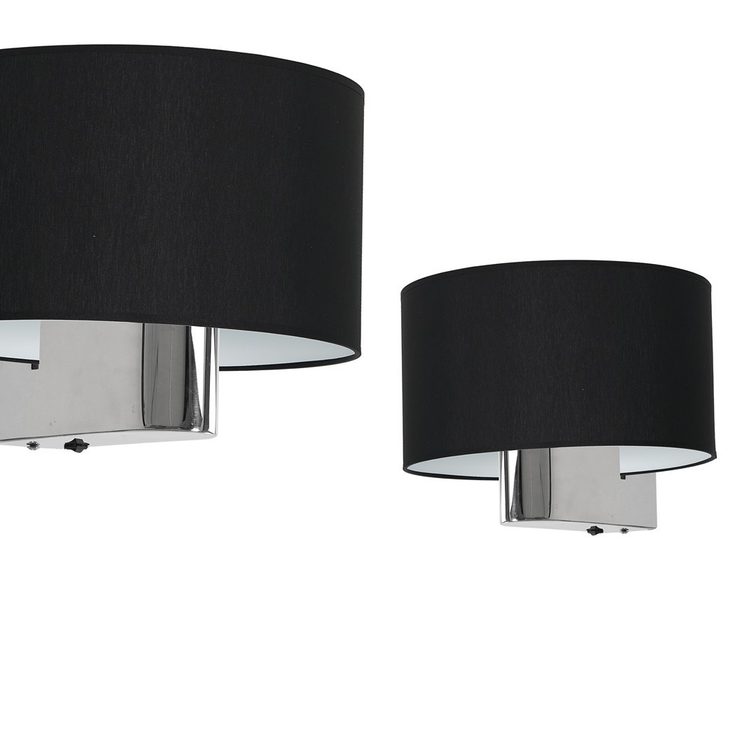Casino Black / Chrome 1x nástěnná lampa E27