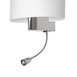 Casino White / Chrome 1x E27 + 1 W LED nástěnná lampa small 3