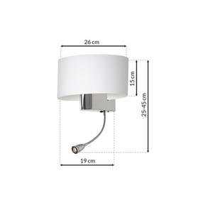 Casino White / Chrome 1x E27 + 1 W LED nástěnná lampa small 6