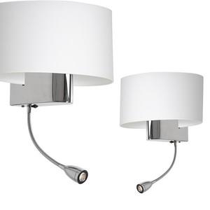 Casino White / Chrome 1x E27 + 1 W LED nástěnná lampa small 0