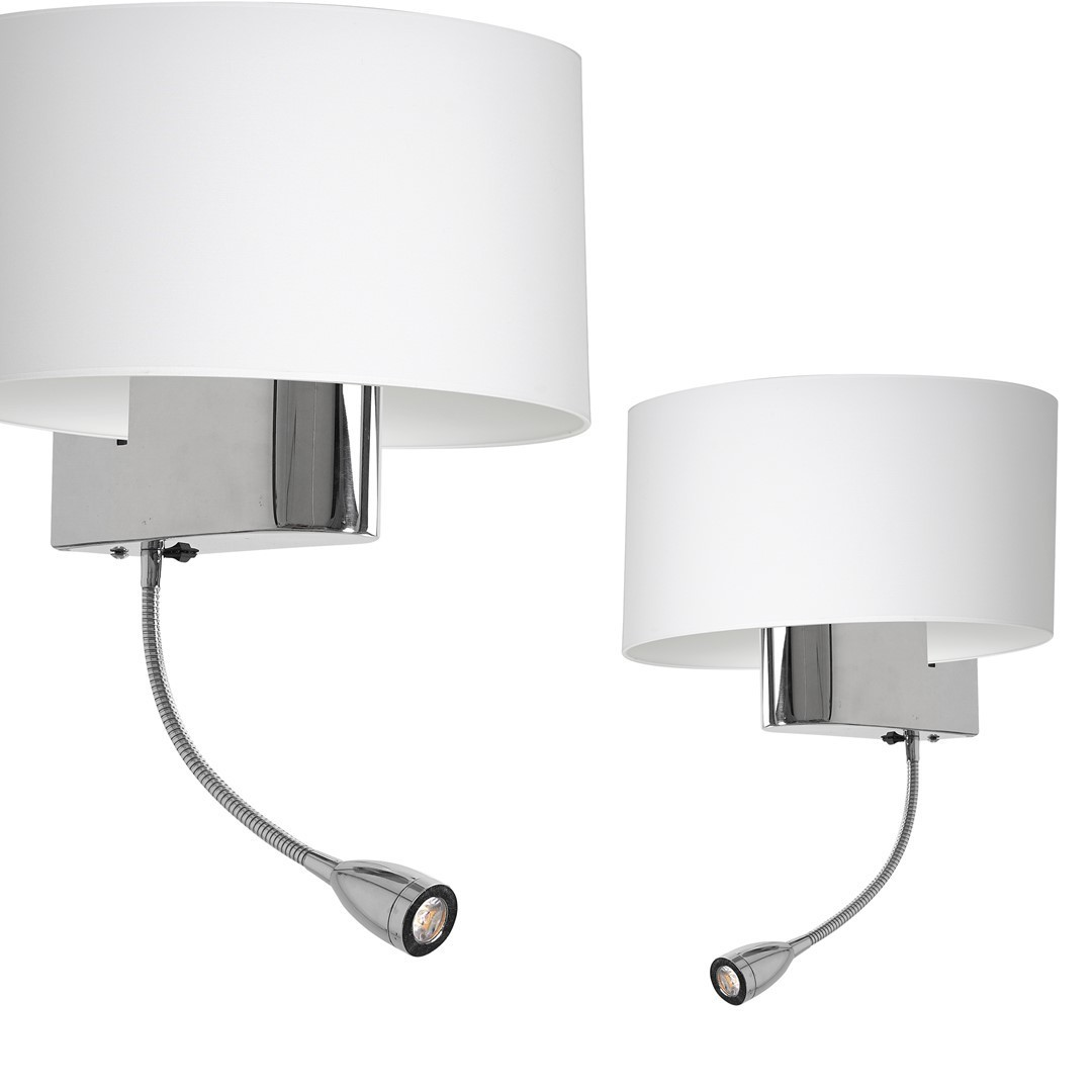 Casino White / Chrome 1x E27 + 1 W LED nástěnná lampa