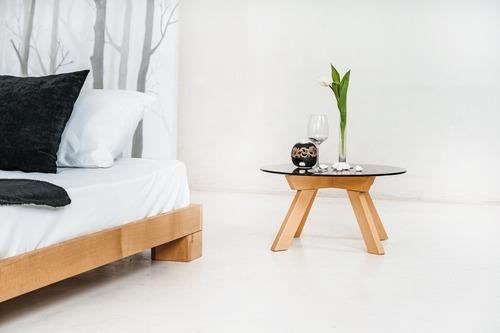Cube manželská postel 140x200 surového dřeva