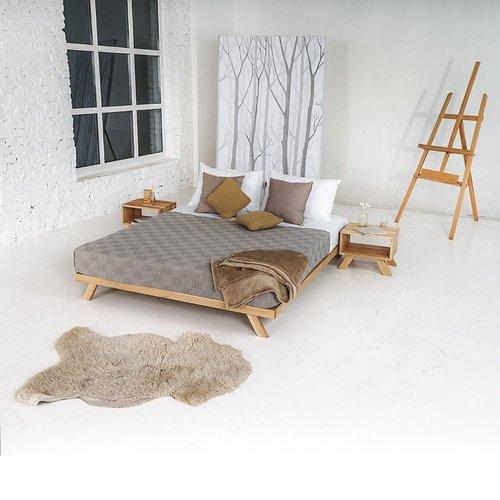 Manželská postel Allegro 140x200, surové dřevo