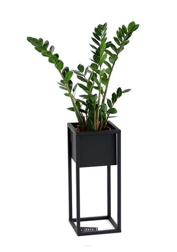 LOFT stojan na květiny, kovový stojan na podlahu, CUBO 50 cm, černý