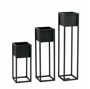 LOFT stojan na květiny, kovový stojan na podlahu, CUBO 50 cm, černý small 4