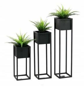 LOFT stojan na květiny, kovový stojan na podlahu, CUBO 50 cm, černý small 3