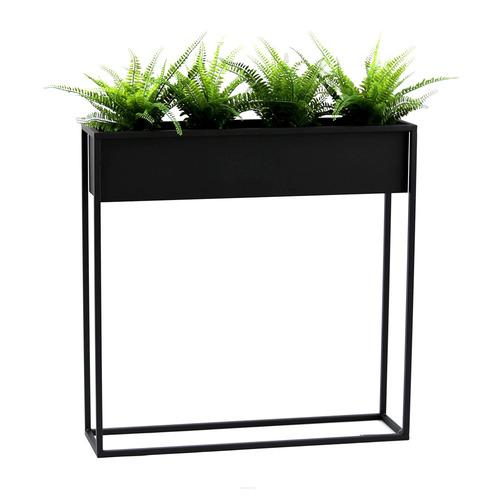 Kovový stojan na květiny CUBO černý půdní box 80x80cm