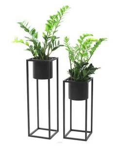 Kovový stojan na květiny s květináčem na rostliny UGO 60cm černý půdní vestavba small 4
