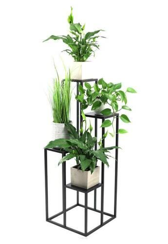 Kovový stojan na květiny pro čtyři květiny METALLO 112cm černý LOFT