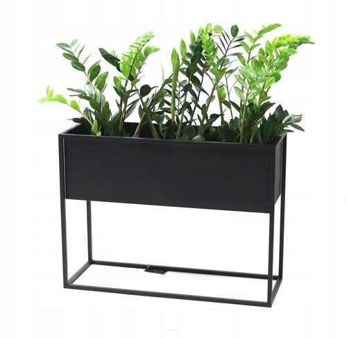 Kovový stojan na květiny CUBO 60x80x30cm černý LOFT box