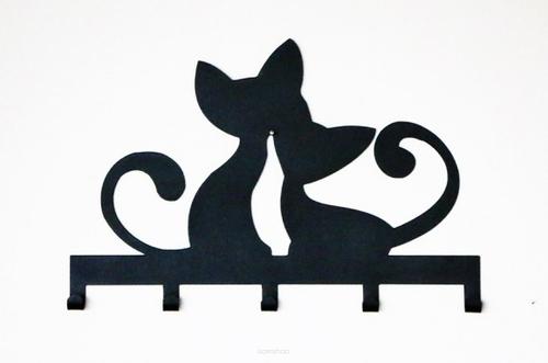 Kovový nástěnný věšák CATS černé barvy