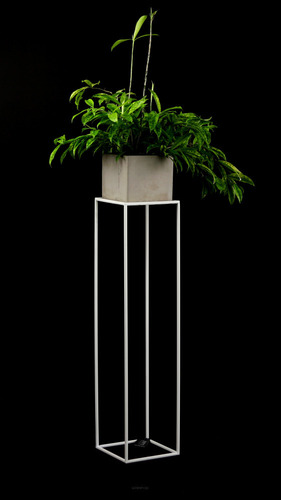 Kovový stojan na květinový záhon LOFT na jeden hrnec 100cm bílý