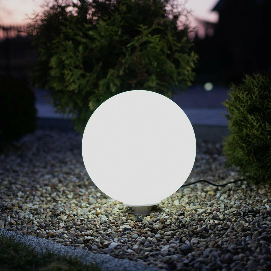 Bílý zahradní míč Fi30 9 W Rgb IP44