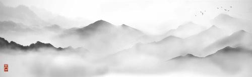 Fototapeta hory, starověká malba, minimalismus, bílá, šedá, mlha