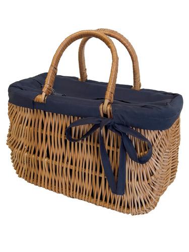 Proutěná kabelka, velký proutěný koš, ručně vyráběný, tmavě modrá, VELKÁ