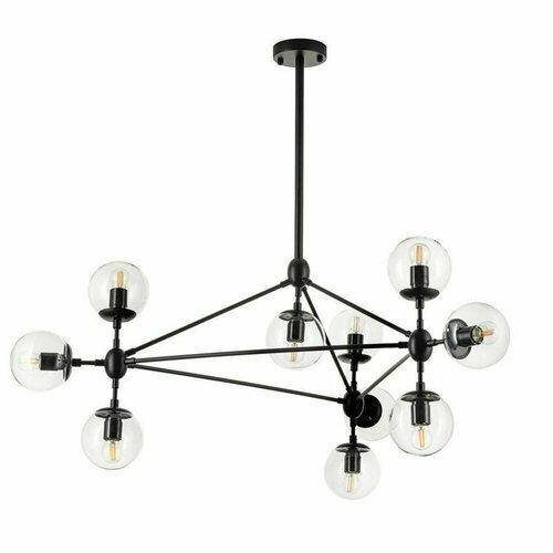 Závěsná lampa ASTRIFERO-10 transparentní černá 90 cm