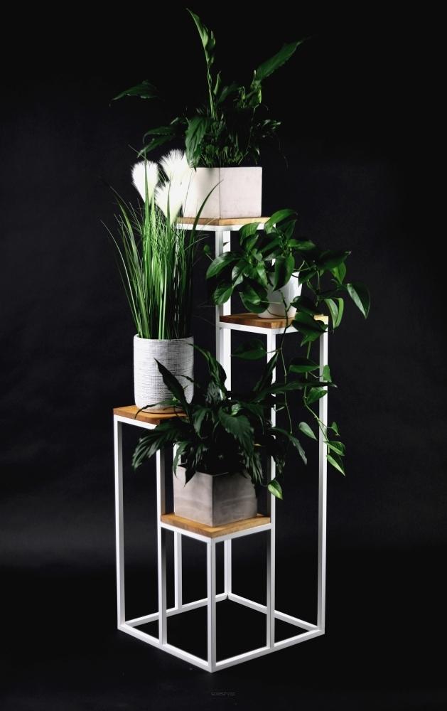 Kovový záhonový stojan na čtyři květiny Dřevo TAVOLO 112cm bílý LOFT