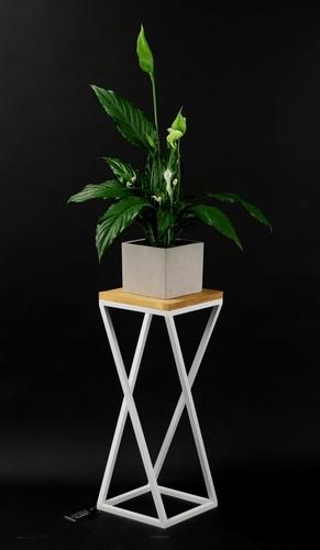 Kovový stojan na květiny pro rostliny TAVOLO 60 cm bílý loft
