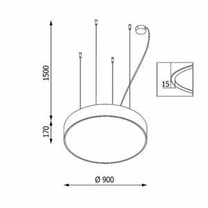 Přívěsek ABA PREMIUM 900, LED PHILIPS LV 121,5W / 14850lm / 3000K / TD / CAS, 230V, stříbrný hliník (lesk) RAL 9006 small 1