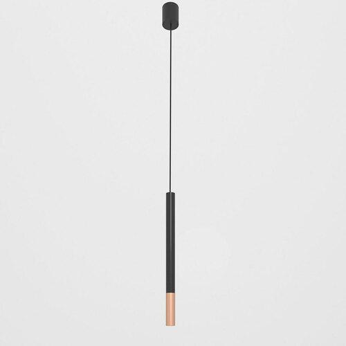 NERON 500 visí max. 1x2,5W, G9, 230V, černý vodič, barva mědi (hladká rohož), sytě černá (lesk) RAL 9005