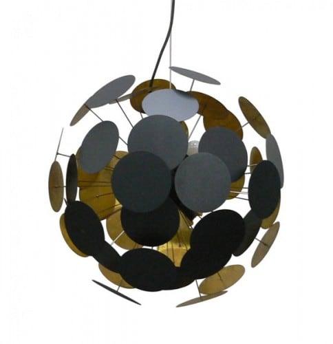 Stropní lampa tečky přívěsek černá a zlatá