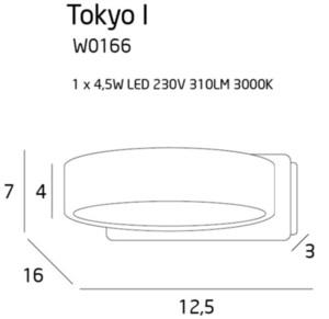 Minimalistický nástěnný sconce Tokyo I bílý kovový prsten small 2